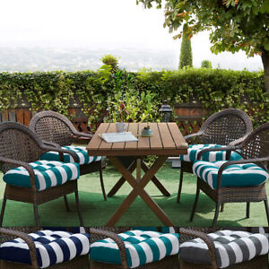 Havana Striped Tufted Patio Seat Cushion 2, 4, 6 or 12 Pack