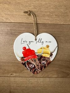 Heilan Coo / Highland Cow 'Silly Moo' Heart Shaped Ceramic Plaque *FREE UK P&P*