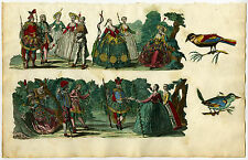 Antique Print-SCRAPBOOK PAGE-COSTUME-PIERROT-BIRDS-Anonymous-Ca. 1740
