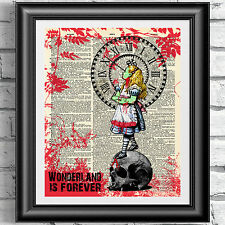 Art print on ORIGINALE ANTICO LIBRO pagina il WALKING DEAD ZOMBIE Alice in wonderl