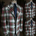Men's Colorful Checkered Plaid Blazer 3 Button Leisure Suits With Matching Pant