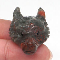 Wolf Head Pendant Natural Gemstone Blood Stone Crystal Carving Healing Necklace