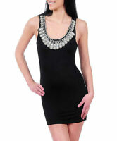 Dress S M L Mini Beaded Jeweled Scoop Neckline Black Stretch Bodycon Sexy New