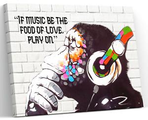 BANKSY DJ MONKEY GORILLA CHIMP CANVAS PICTURE PRINT WALL ART FRAMED