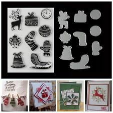 Christmas Theme Embossing Template DIY Album Card Cut Dies+Transparent Stamp Set