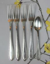 """Vintage EPNS silver plated Welner DESSERT FORKS with initial """"F"""" and teaspoon"""