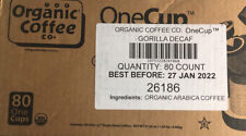 80 K-cup The Organic Coffee Co. Gorilla Decaf Natural Medium BB:1/22 FREE SHIP