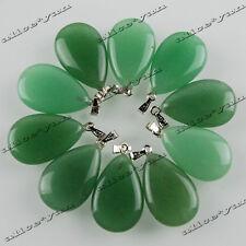 Silver Tone Alloy Pendant Beads Wholesale 10ps Drop Natural Aventurine Gemstone