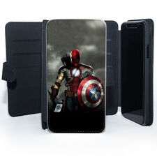 Captain America Shield SPIDER MAN IRON MAN super heroes Cuir Coque Téléphone