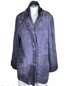 Bernardo Blue Suede Leather Jacket, Size L Long Coat Women's