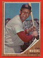 1962 Topps #50 Stan Musial EX-EXMINT HOF St. Louis Cardinals FREE SHIPPING