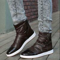 Men's PU Leather Round Toe Lace Up Flats Ankle Boots  High Tops Casual Shoes