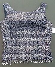 Cachet Top Silver Black Brocade Formal Sleeveless Beaded Shirt Size 4 Dressy