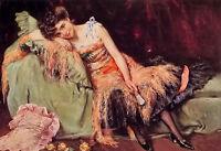 "Oil painting maximino munoz - a spanish beauty female portrait free shipping 36"""