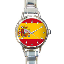 Women's Spain Spanish Flag Italian Charm Watch Bracelet bandera española Analog