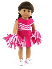 Hot Pink Cheerleader Outfit Pom Poms For 18 Inch American Girl Doll Clothes