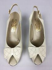 Women's Salvatore Ferragamo Ivory Leather Open Peep-Toe Bow Heel Pumps - 7.5 Aa