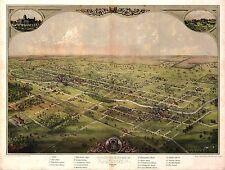 1866 Lansing old Michigan map Genealogy atlas poster Ingham Eaton county Mi 20
