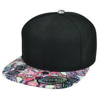 Symmetrical Graphic Design Flat Bill Snapback Hat Cap Solid Blank Purple Plain