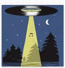 "UFO Music Note Beam Me Up Get Me Out of Here Space Aliens 3"" Sticker"