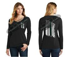 Women's Tattered American Flag GOLD Line Dispatcher Police LONG Sleeve Shirt