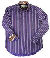 Robert Graham Men's Purple Striped Flip Cuff Button Up Shirt, Sz Large