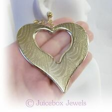 """CLIP ON  2-3/4""""x 3"""" GOLD TONE Textured Heart Dangle BIG LARGE Earrings G560"""