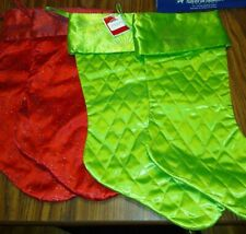 """Christmas Stockings- Lot of 4, fabric, green, red, 2 quilted ,2 glitter  New 18"""""""