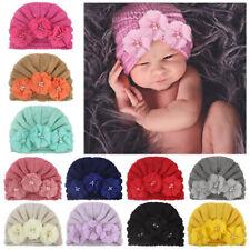 Newborn Baby Knitted Hat Three Flower Pearl Rhinestone Beanie Turban Warm Cap #1