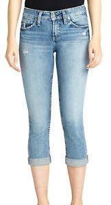 Silver Jeans Co. Women's Jeans Blue Size 34 Denim Suki Capri Stretch $74 #223
