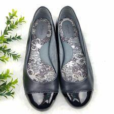 Softwalk Women's 7.5W Wide Napa Ballet Flats Black Leather Cap Toe Comfort Shoes