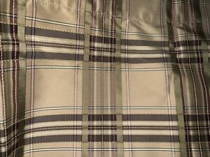 """FABULOUS COUNTRY CURTAINS SILK LOOK PLAID~GREEN,PLUM,TAUPE 51X17"""""""
