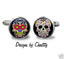 Sugar Skull Cufflinks Day of the Dead - dia de los muerto Glass Art Silver Bezel