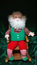 ANIMATED BALDY SANTA  RELAXING IN A ROCKING CHAIR