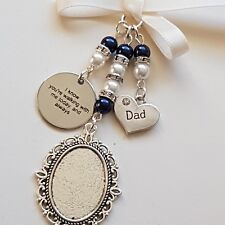 "Wedding Bouquet Charm Silver Locket, ""dad""  & ""I know you're walking..."" charms"