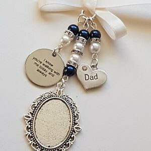 """Wedding Bouquet Charm Silver Locket, """"dad""""  & """"I know you're walking..."""" charms"""