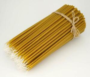 """100% Pure Beeswax Taper Church Candles Orthodox Natural Honey Scent 200 pcs 11"""""""