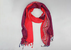 Red and Purple Striped Woven Summer Scarf