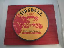 Fireball Whiskey Backlit Sign Screenprint Metal on Wood Background LED