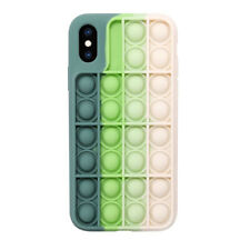 Pop Fidget Toy Soft Silicone Protective Case Cover For iPhone Xs Max-Green/White