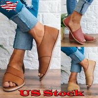 Womens Open Toe Slip On Side Cut Out Flat Sandals Casual Flats Heel Loafer Shoes