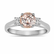 Pink Peach Morganite Engagement Ring 14K White Gold 1.00 Carat Three Stone Ring