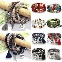 Boho Multilayer Natural Stone Bead Tassel Pendant Chain Bracelet Charm Women Set
