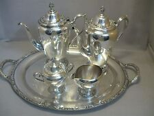 Rogers & Bro Primrose II Silver Plate Tea Pot Set 20 1/2 Butlers Tray  1847-1976