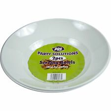 2 x WHITE PLASTIC DISPOSABLE ROUND SERVING BOWLS PLATTERS 28cm WIDE TABLEWARE