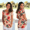 Womens Summer Floral Flower Short Sleeve T-Shirt Fashion Loose Blouse Tee Tops