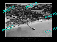 OLD POSTCARD SIZE PHOTO TOTLAND ISLE OF WRIGHT ENGLAND TOWN AERIAL VIEW 1951