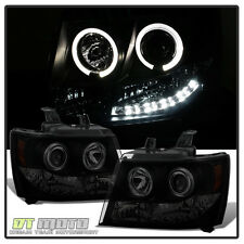 Blk Smoke 2007-2014 Chevy Suburban Tahoe Avalanche LED Halo Projector Headlights