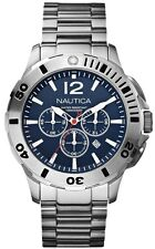 New Nautica BFD 101 Men Chronograph Steel Blue Dial Date Watch 45mm N19582G $195