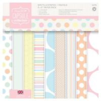 """32 papers Papermania 6x6"""" 160gsm capsule collection paper spots & stripes pastel"""